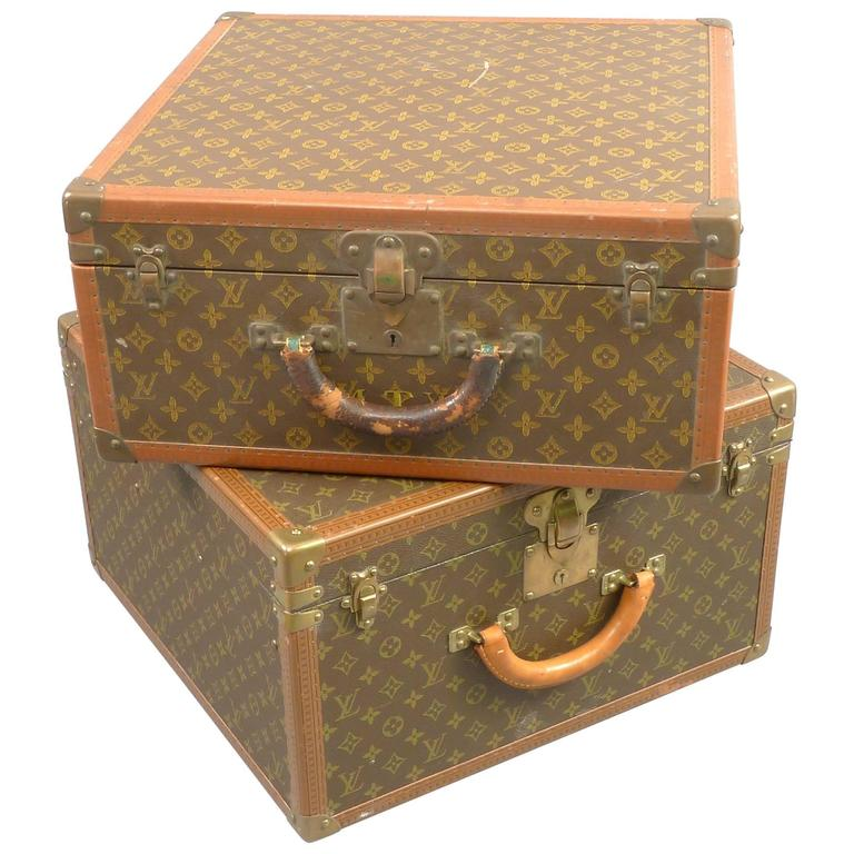 Unmatched Set Of Vintage Louis Vuitton Suitcases Leather And Brass For Sale At 1stdibs