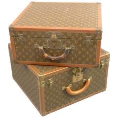 Unmatched Set of Vintage Louis Vuitton Suitcases, Leather and Brass