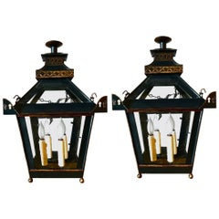 Pair of English Regency Chinoiserie Lanterns in Pagoda Form