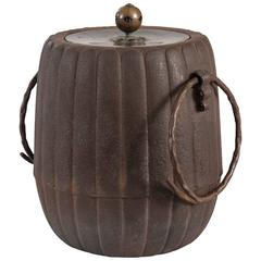 A Japanese Iron Lidded Jar