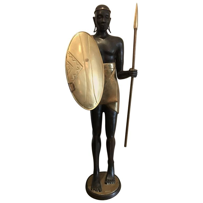 Vintage Life-Size Warrior Bronze Sculpture
