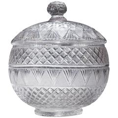 An English Cut Glass Bowl with a Lid