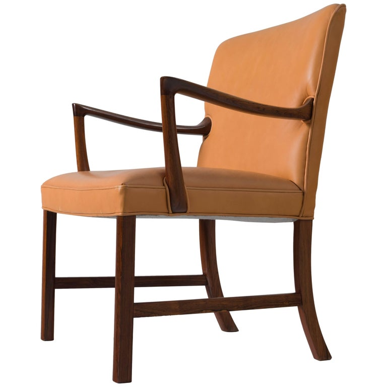 Ole Wanscher Large Armchair with Natural Leather Upholstery For Sale