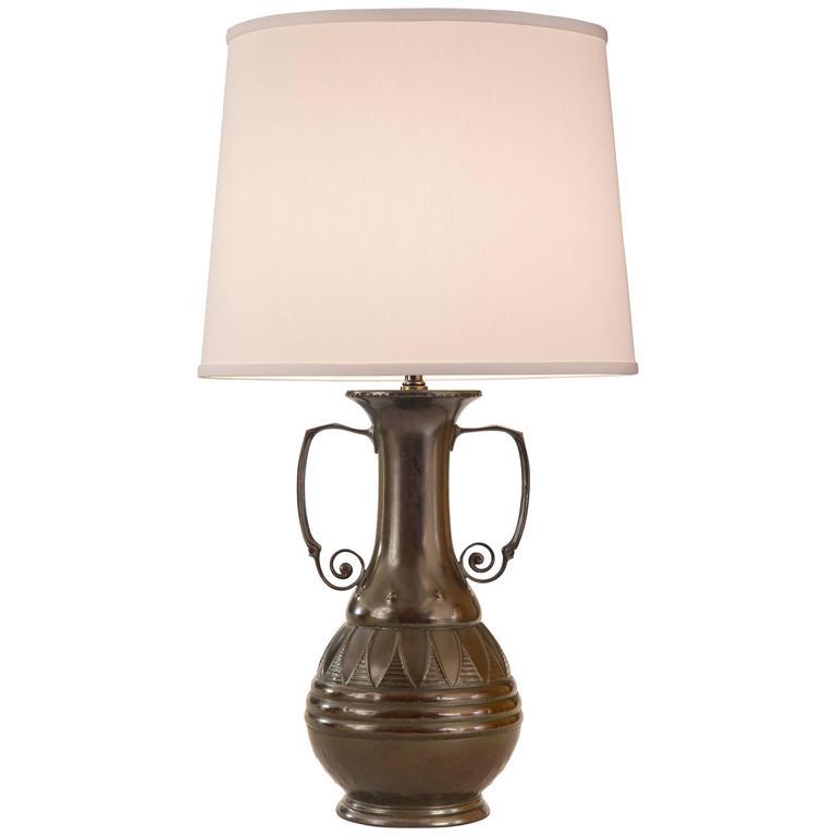 A Munich Secession Patinated Copper Vase, Now a Lamp