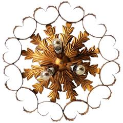 Gilt Tole Flush Mount Chandelier Nice Patina
