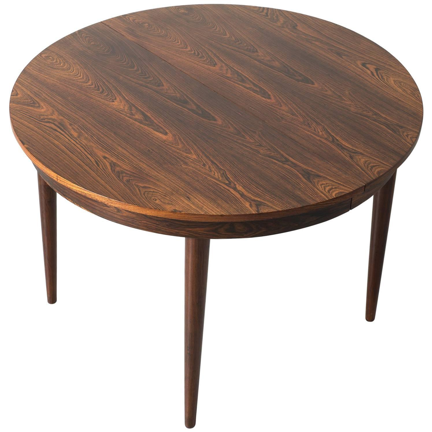 Round Hans Olsen Rosewood Dining Table With Extension Leaf
