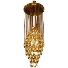 Very Large Brass and Glass Pendant Chandelier