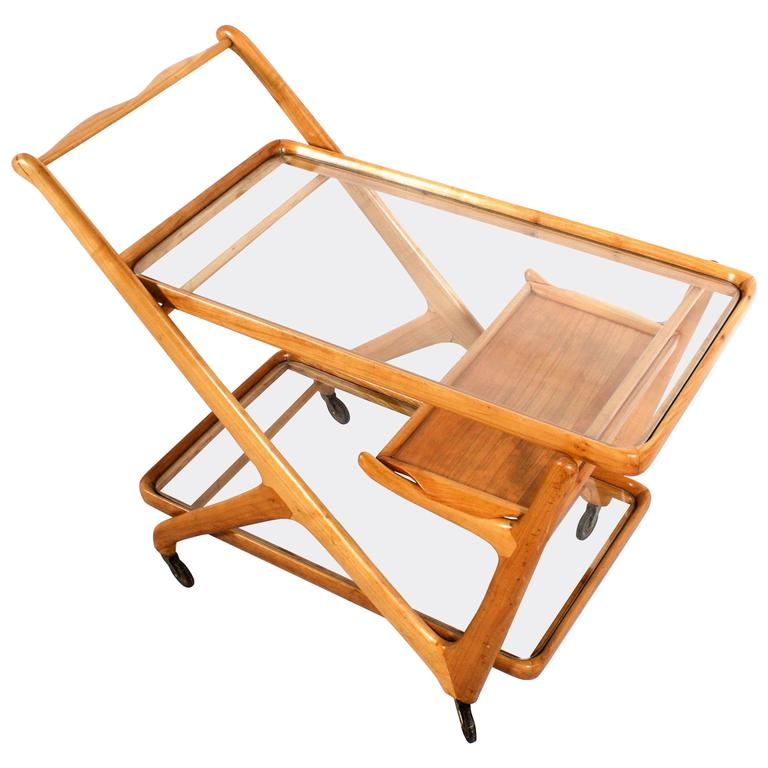 Italian Bar Cart in Light Walnut by Cesare Lacca for Cassina, 1950s