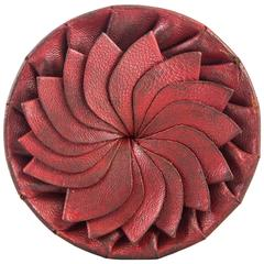 Swedish Circular Pleated Red Leather Box
