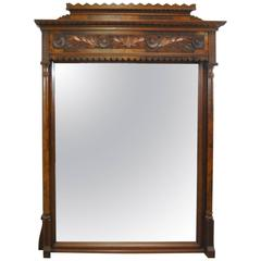 19th Century Victorian Overmantel Walnut Carved Mirror
