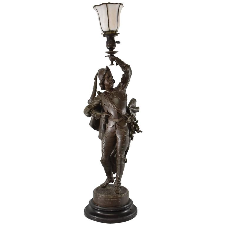 "Antique French Musketeer Newel Post Lamp by Philippe Poitevin ""La Sante du Roy"""