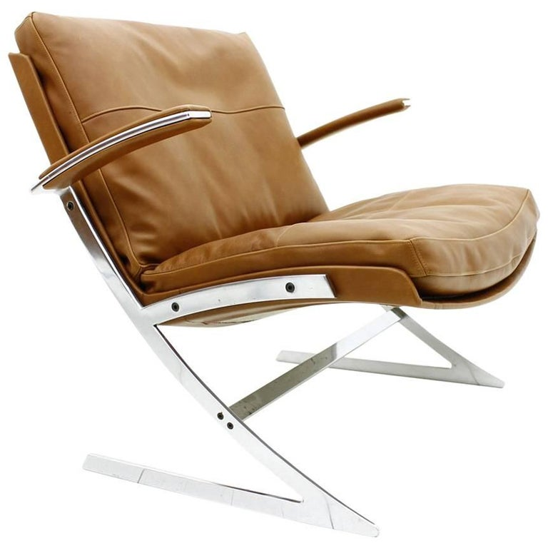 Lounge Chair in Leather and Steel by Preben Fabricius for Arnold Exclusiv, 1972 For Sale