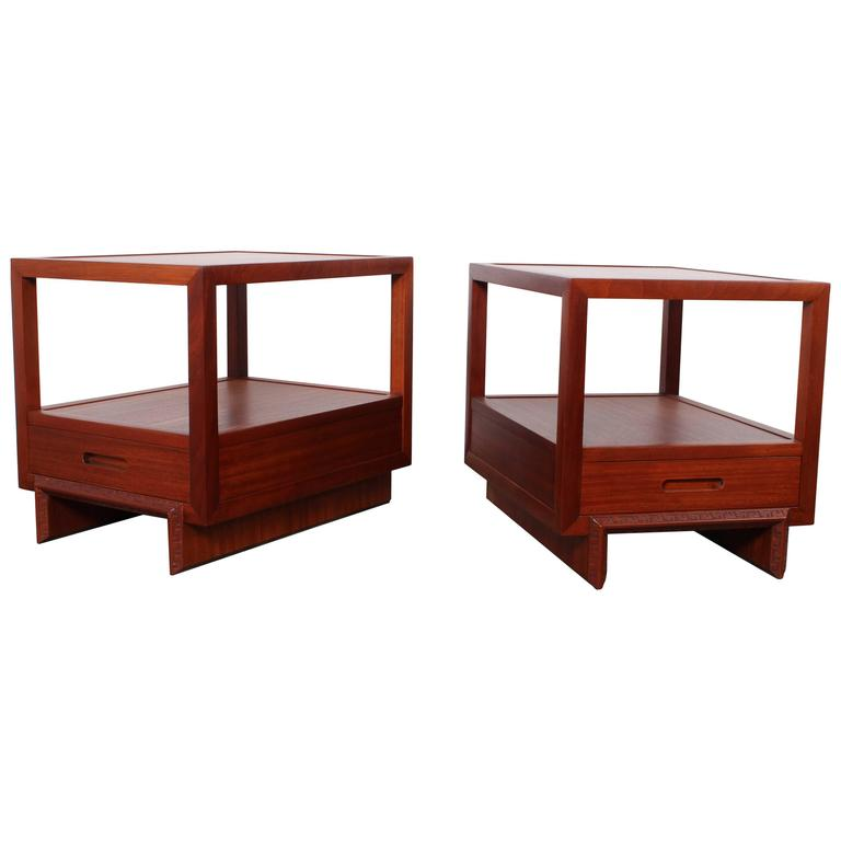 Pair Of Nightstands By Frank Lloyd Wright For Henredon At 1stdibs
