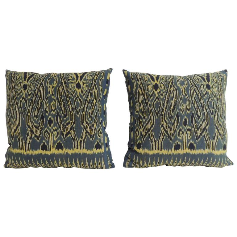 Vintage Blue Throw Pillows : Pair of Vintage Blue and Black Ikat Decorative Pillows at 1stdibs