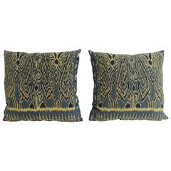 Pair of Vintage Blue and Black Ikat Decorative Pillows