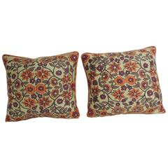 Pair of Orange Floral Vintage Suzani Decorative Pillows