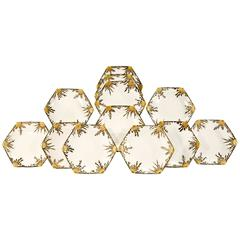 Set of 12 Aesthetic Movement 19th Century Bodley Hexagonal Shell/Seafood Plates