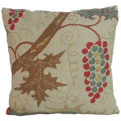 19th Century Silk on Linen Embroidered Suzani Decorative Pillow
