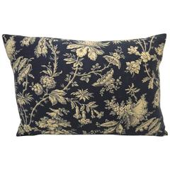 19th Century French Antique Printed Floral Cotton Pillow