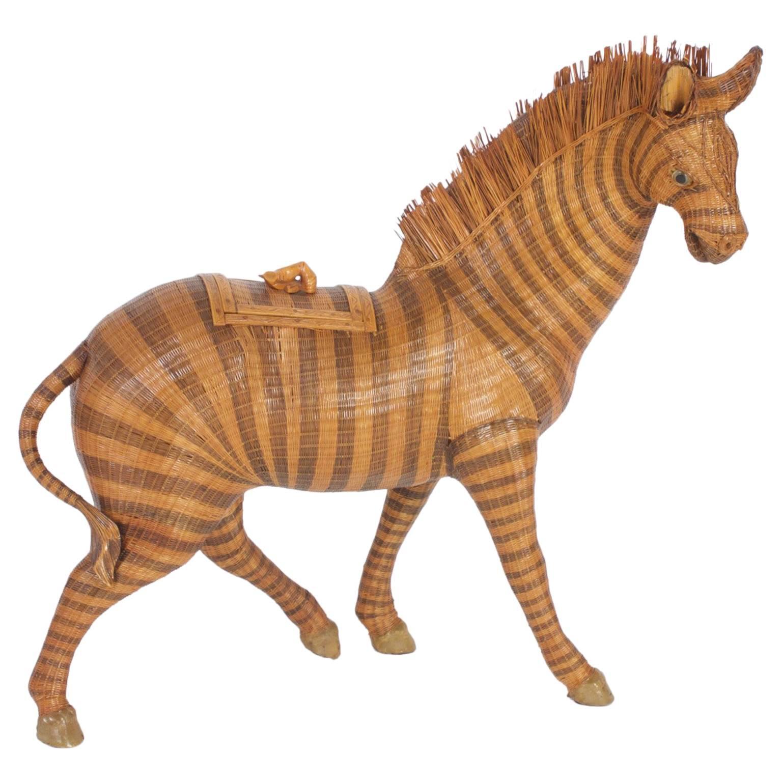 Woven Wicker Zebra Box