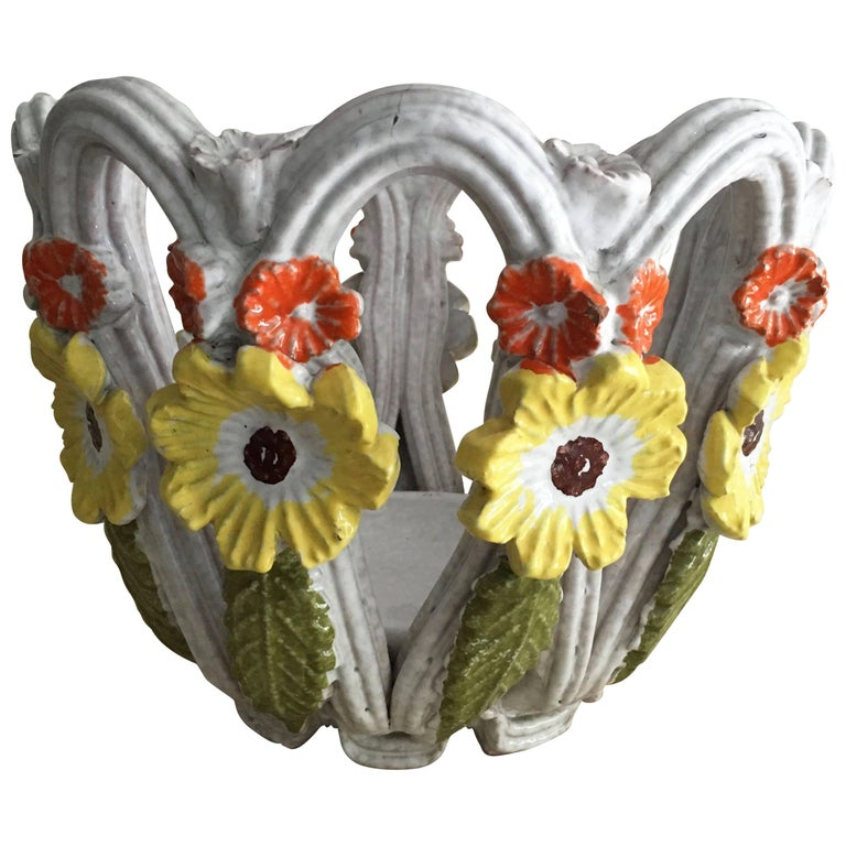 Majolica Open Weave Bowl with Flowers For Sale