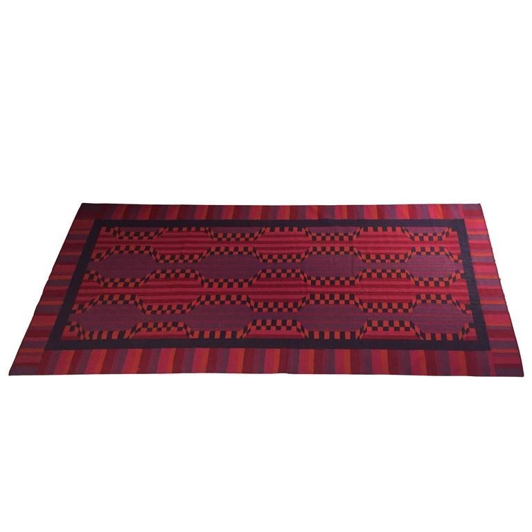 American Handwoven Wool Area Rug For Sale
