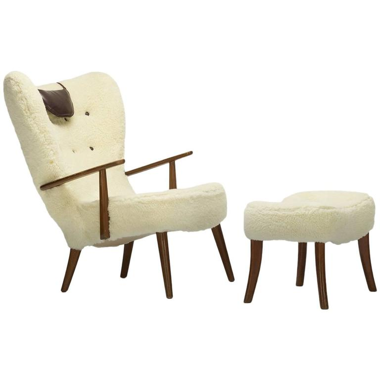 Pragh Lounge Chair and Ottoman by Acton Schubell and Ib Madsen