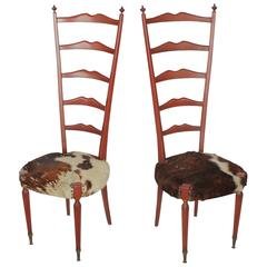 Mid-Century Italian High Back Cowhide and Wood Chairs by Meroni & Fossati