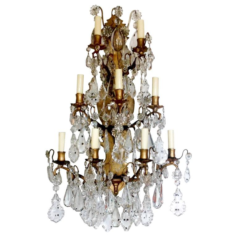 Vintage Crystal Wall Sconces : Antique French Bronze and Crystal Wall Sconce at 1stdibs