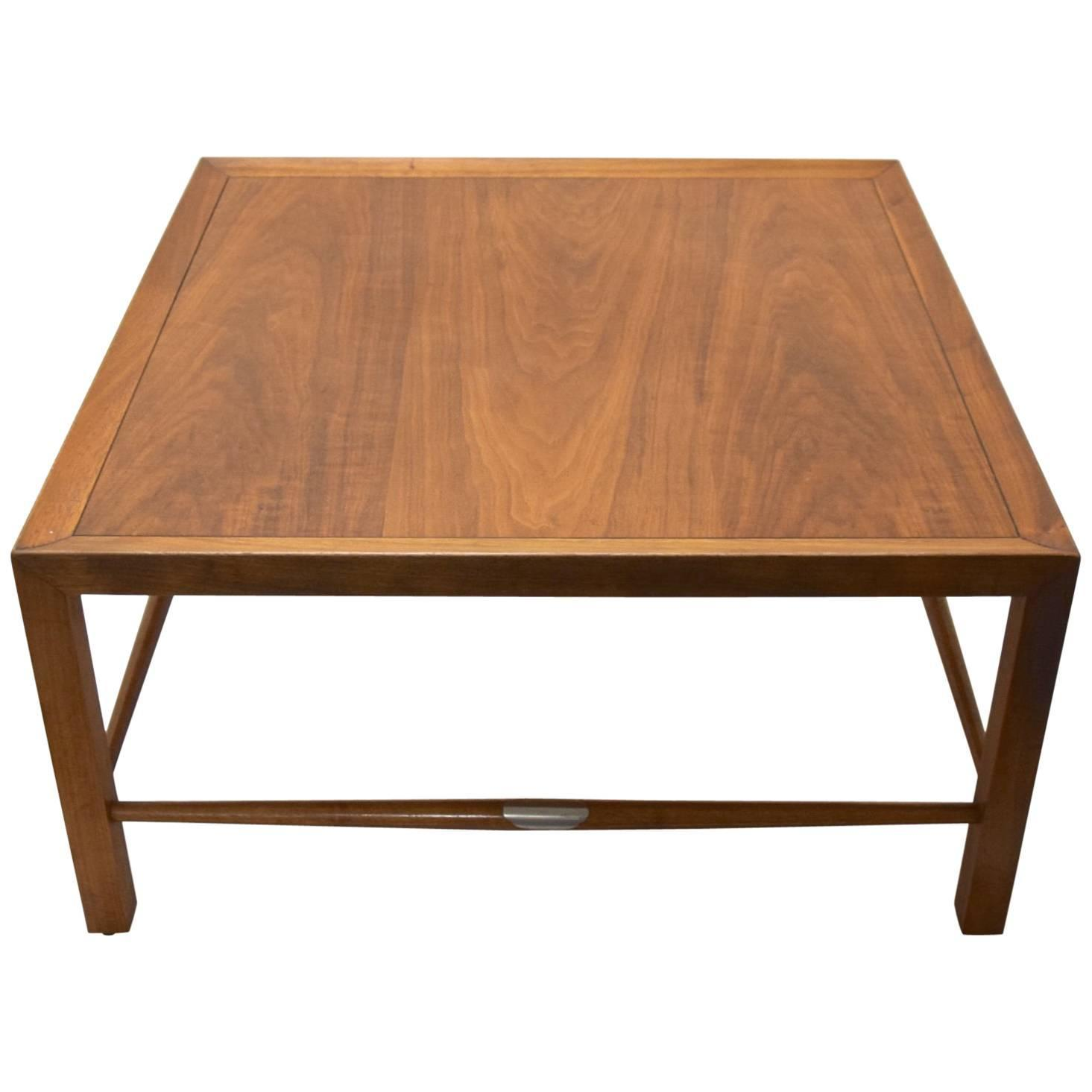 Walnut Coffee Display Center Round Table by Henredon For Sale at