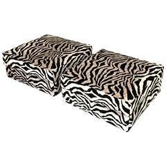 Pair of Large Square Ottomans in Zebra