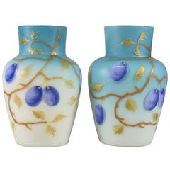 Pair of Blue Cased Glass Vases with Plums/Grapes by Thomas Webb