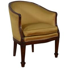 Italian Neoclassical Walnut and Upholstered Bergere in Empire Taste 19th Century