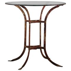 Early 20th Century Wrought Iron and Glass French Bistro Table