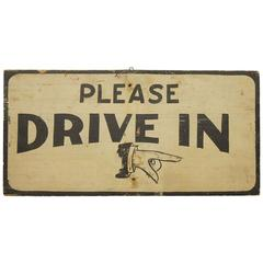 "Antique Hand-Painted Directional Sign ""Please Drive In"""