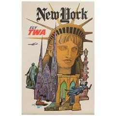 "Original Large 1960s ""Fly TWA New York"" Poster - David Klein"