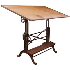 Drafting Table Vintage Industrial Cast Iron and Wood Frederick Post Adjustable
