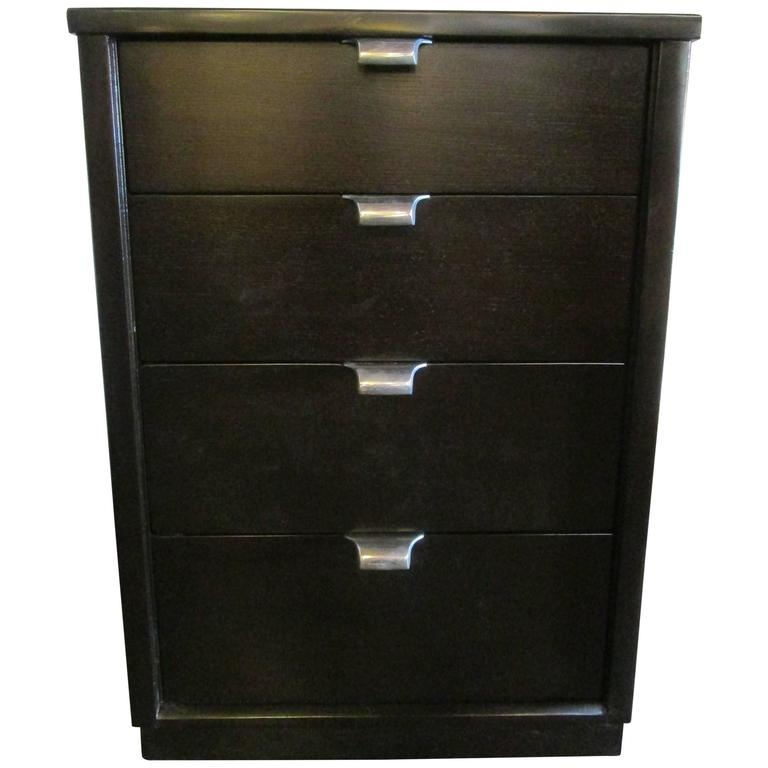 black stained walnut four drawer nightstand by edward wormley for drexel for sale at 1stdibs. Black Bedroom Furniture Sets. Home Design Ideas