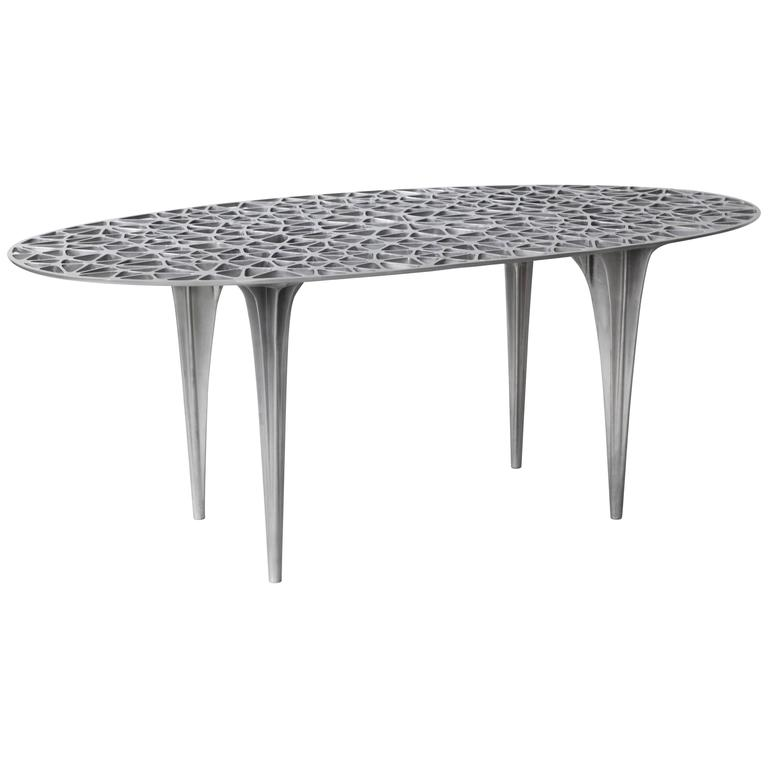 Sedona Round Center Dining Table Glass Top Polished Aluminium by Janne Kyttanen