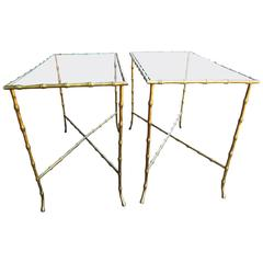 Pair of Brass Faux Bamboo Side Tables Baguès Style
