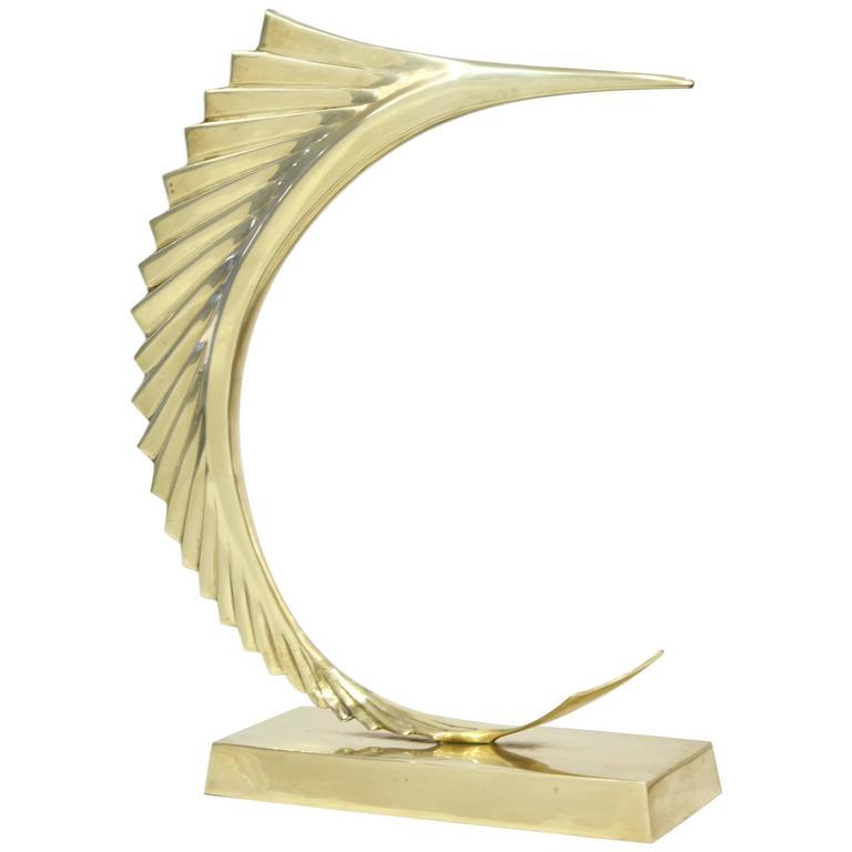 Brass Marlin Sculpture For Sale
