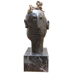Ismael Bronze Sculpture by Danny First with Marble Base