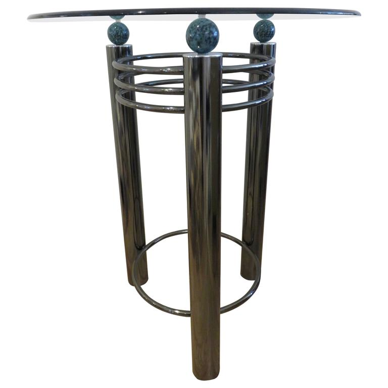 Mid-Century High Top Chrome and Marble Cocktail Table, circa 1960s 1