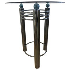 Mid-Century High Top Chrome and Marble Cocktail Table, circa 1960s