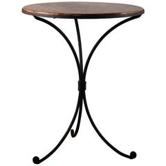 Late 19th Century Wrought Iron and Wood Bistro Table