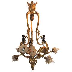 Wonderful 19th Century French Doré Bronze Cherub Rose Bud Shade Large Chandelier