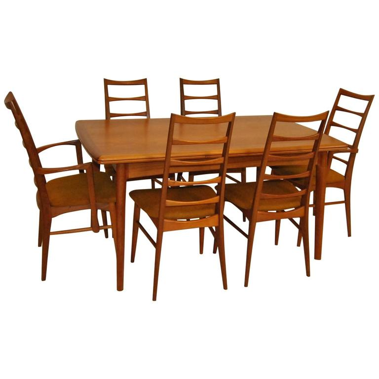 Danish modern teak refractory dining table and six liz hornslet kofoed chairs for sale at 1stdibs - Scandinavian teak dining room furniture design ...