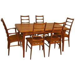 "Danish Modern Teak Refractory Dining Table and Six ""Liz"" Hornslet Kofoed Chairs"