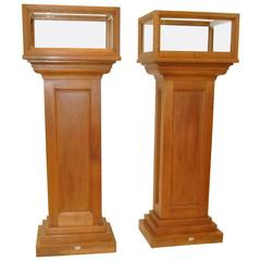 Pair of Solid Cherry Museum Display Pedestals