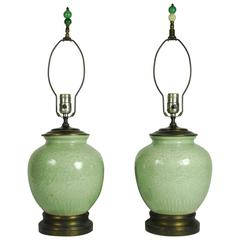 Pair of Antique, 19th Century Chinese Celadon Porcelain Ginger Jar Form Lamps
